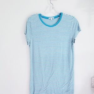 Vince gray and turquoise blue stripe tshirt Large